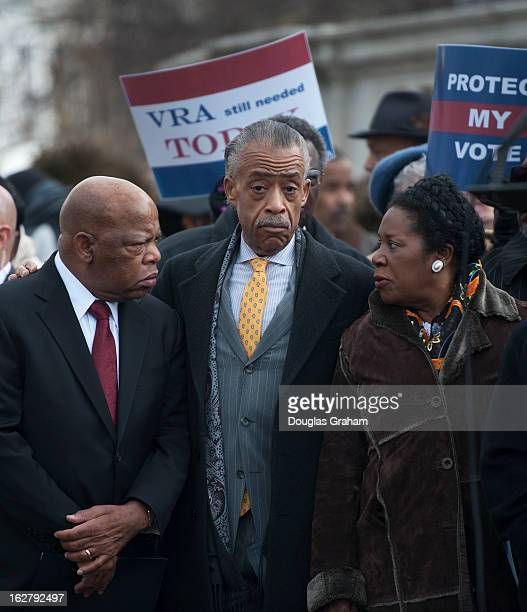 Rep John Lewis DGa Al Sharpton and Rep Sheila Jackson Lee DTX during the press conference outside the Supreme Court as the Shelby County Alabama v...