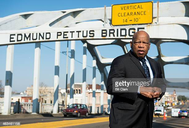 Rep. John Lewis, D-Ga., stands on the Edmund Pettus Bridge in Selma, Ala., in between television interviews on Feb. 14, 2015. Rep. Lewis was beaten...