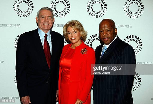 Rep John Lewis Elizabeth Mitchell and news anchor Dan Rather attend the Media and the Voting Rights Act of 1965 panel discussion at the Paley Center...