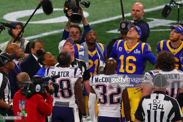 Rep. John Lewis , former U.S. Ambassador to the United Nations Andrew Young and Rev. Bernice King look up at the coin toss prior to Super Bowl LIII...