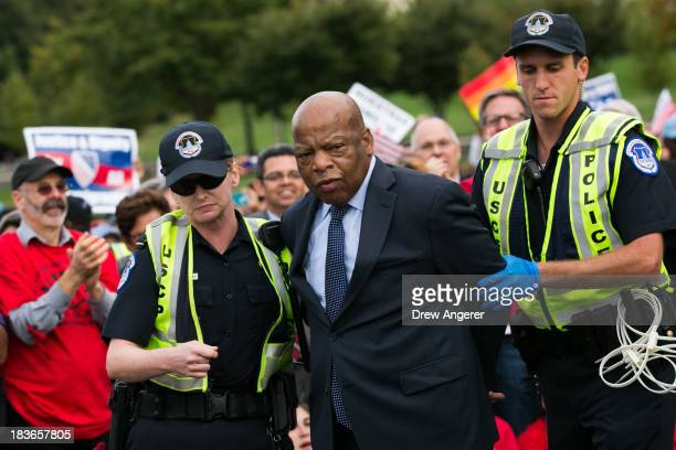 Rep John Lewis is arrested by US Capitol Police after blocking First Street NW in front of the US Capitol with fellow supporters of immigration...