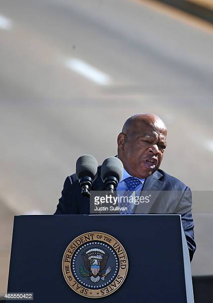S Rep John Lewis speaks during a commemoration of the 50th anniversary of the historic civil rights march on March 7 2015 in Selma Alabama Selma is...