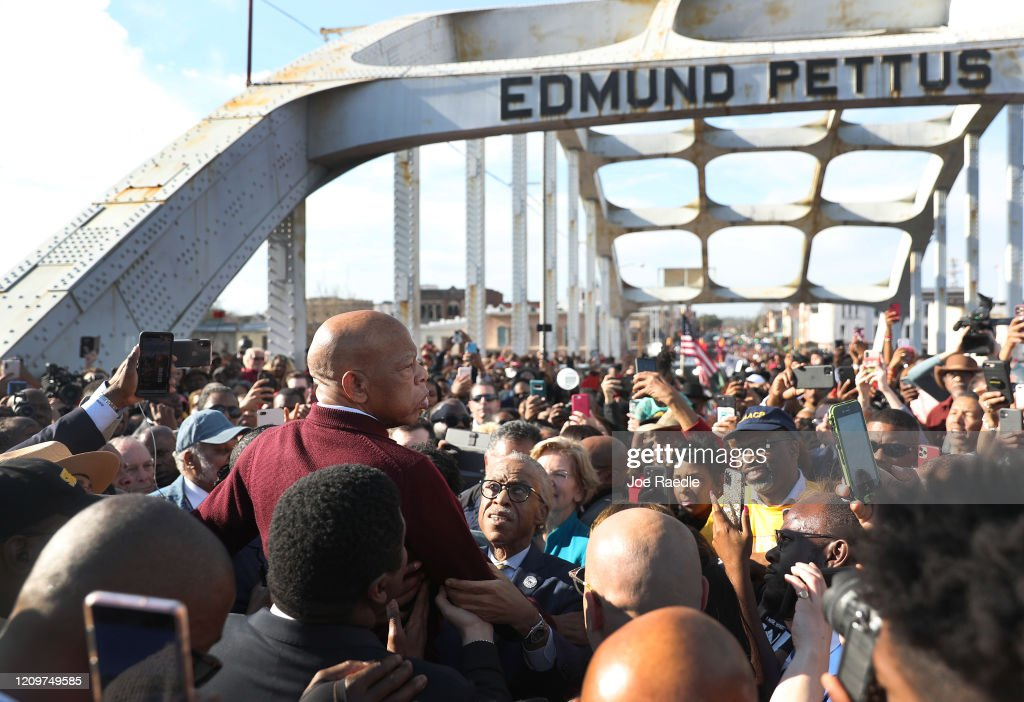 Presidential Democratic Candidates March Across Edmund Pettus Bridge Marking 55th Anniversary Of Selma's Bloody Sunday : News Photo