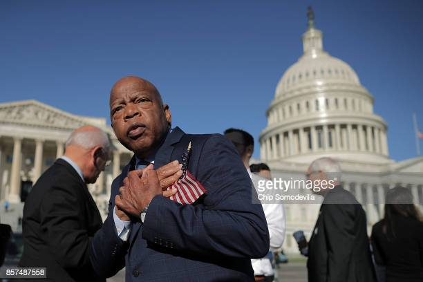 Rep John Lewis thanks antigun violence supporters following a rally with fellow Democrats on the East Front steps of the US House of Representatives...