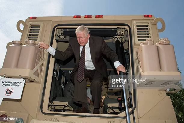 Rep John Murtha DPa gets a tour of the MaxxProTM MRAP manufactured by International Military and Government during a display of the vehicle on...