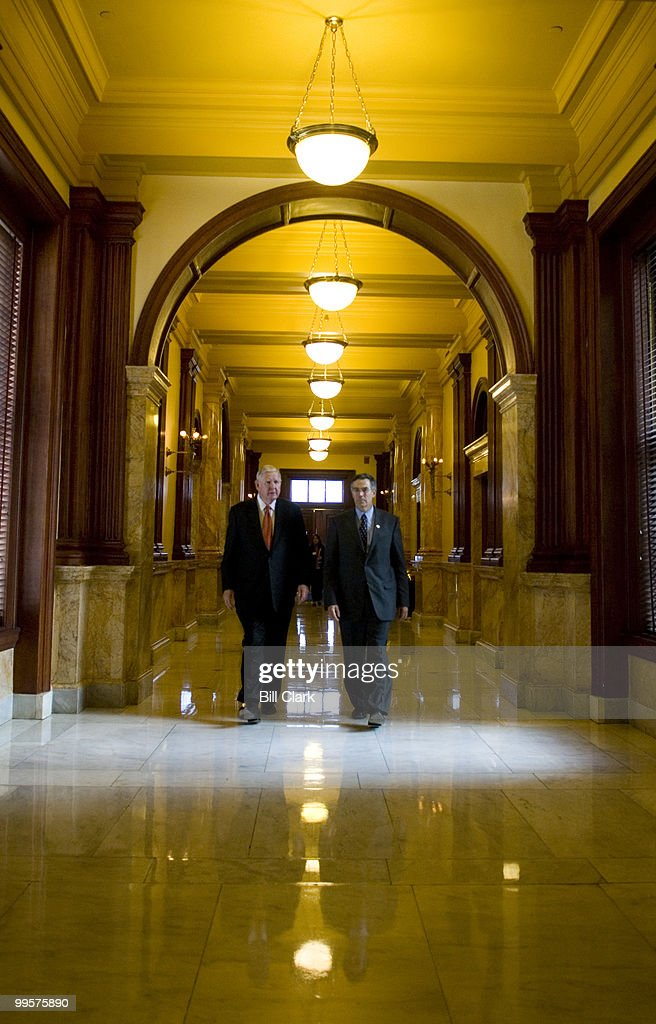 Rep. John Murtha, D-Pa., left, and Rep. Rush Holt, D-N.J., arrive at the New Jersey State Capitol Building for a press conference with Democratic congressional candidate Linda Stender on Friday, Oct. 13, 2006.