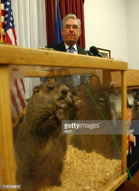 WASHINGTON DC Rep John Peterson speaks to reporters December 7 along with Punxsutawney Phil at a press conference on Capitol Hill Peterson is...
