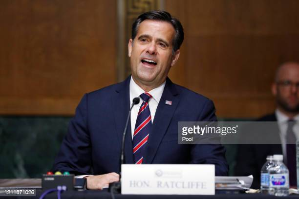 Rep. John Ratcliffe, , is sworn in before a Senate Intelligence Committee nomination hearing on Capitol Hill on May 5, 2020 in Washington, DC. The...