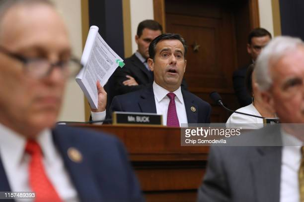 Rep John Ratcliffe questions former Special Counsel Robert Mueller as he testifies before the House Judiciary Committee about his report on Russian...