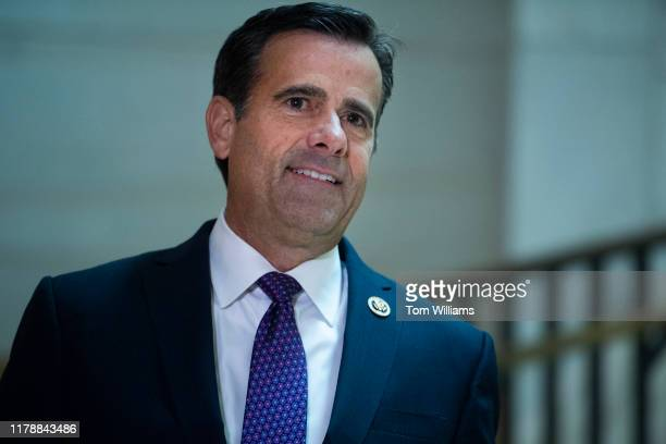 Rep John Ratcliffe RTexas arrive in the Capitol Visitor Center for the deposition of Lt Col Alexander Vindman director of European affairs at the...