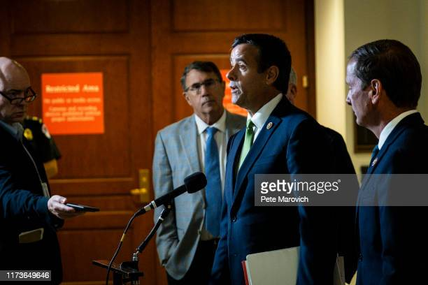 Rep John Ratcliffe speaks to the media after leaving a closed door briefing with Intelligence Community Inspector General Michael Atkinson before the...