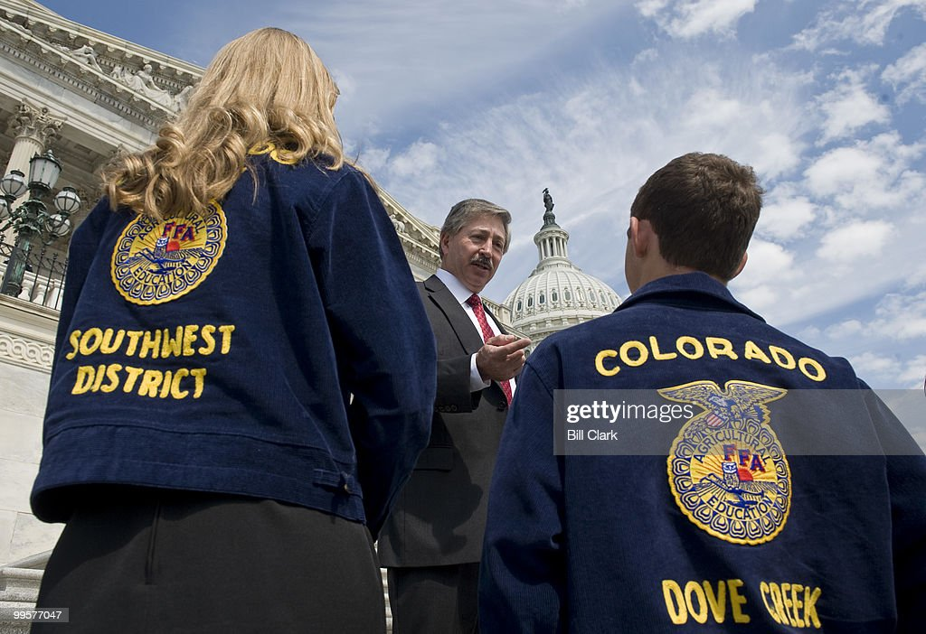 Rep. John Salazar, D-Colo., speaks to Colorado members of the FFA, once known as Future Farmers of America, on the House Steps on Thursday, July 9, 2009.