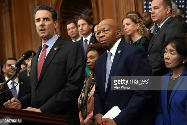 S Rep John Sarbanes speaks as Rep Elijah Cummings listens during a news conference at the US Capitol January 4 2019 in Washington DC US Speaker of...