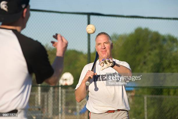 Rep John Shimkus RIll hits ground balls during republican baseball practice at Four Mile Run Park in Arlington April 28 2009