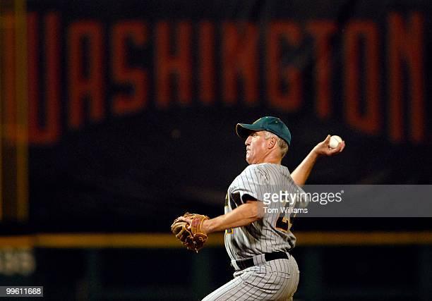 Rep John Shimkus RIll pitches at the 45th Annual Roll Call Congressional Baseball game played at RFK stadium