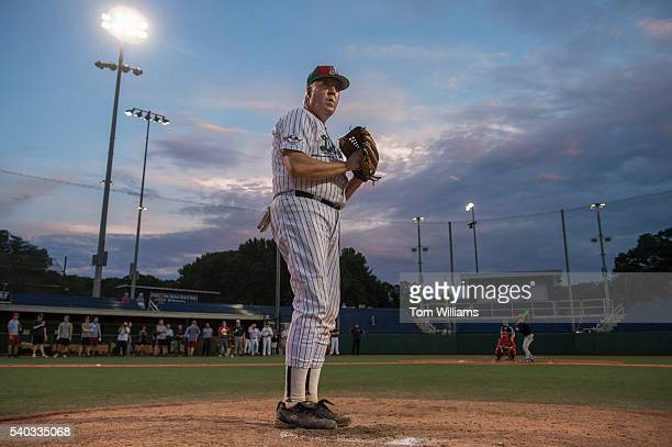 Rep John Shimkus RIll pitches during a scrimmage between Republican team members at the Washington Nationals Youth Baseball Academy in Anacostia June...