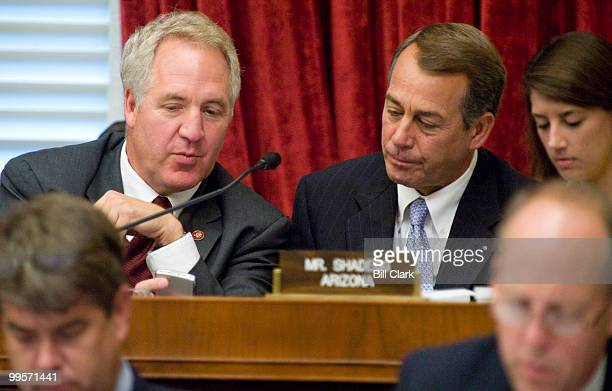 Rep John Shimkus RIll talks with House Minority Leader John Boehner ROhio during the markup of healthcare legislation in the House Energy and...