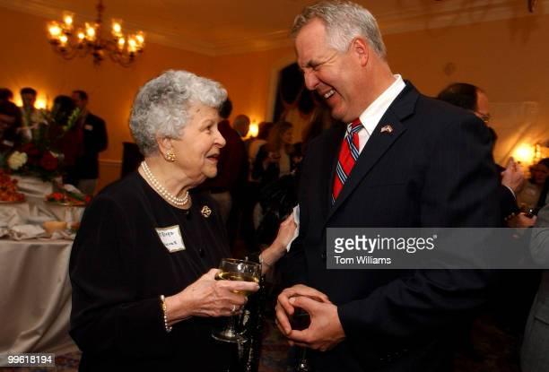 Rep John Shimkus RIll talks with Virginia Blake of Arlington at the 150th birthday celebration of the Illinois State Society of Washington Wednesday...