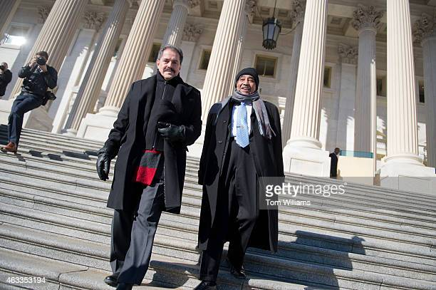 Rep Jose Serrano DNY left and Rep Charlie Rangel DNY make their way down the House steps of the Capitol for a rally with members of their caucus to...