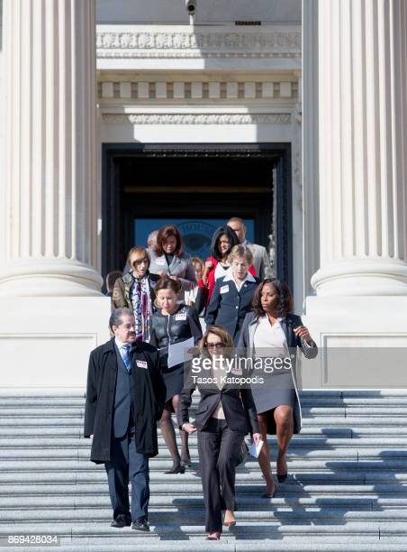 Rep Jose Serrano Ranking Member Nydia Velazquez House Minority Leader Nancy Pelosi and Del Stacey Plaskett attend a press conference to show...