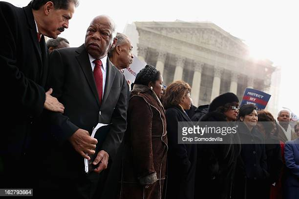Rep Jose Serrano Rep John Lewis Rev Al Sharpton and Rep Sheila Jackson Lee rally with fellow members of Congress on the steps of the US Supreme Court...