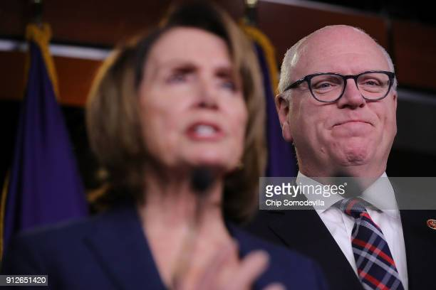 Rep Joseph Crowley and House Minority Leader Nancy Pelosi talk to reporters following a meeting of the House Democratic caucus at the US Capitol...