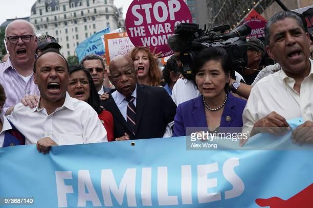 US Rep Joseph Crowley Rep Luis Gutierrez Rep Pramila Jayapal Rep John Lewis and Rep Judy Chu march to the headquarters of US Customs and Border...
