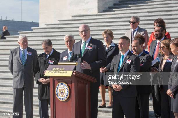 Rep Joseph Crowley speaks at a press conference to show solidarity with the people of Puerto Rico and US Virgin Islands after the crisis in the wake...