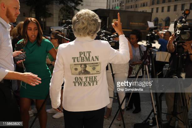 Rep. Joyce Beatty talks to reporters following a rally with fellow House Democrats to demand that American abolitionist heroine Harriet Tubman's...