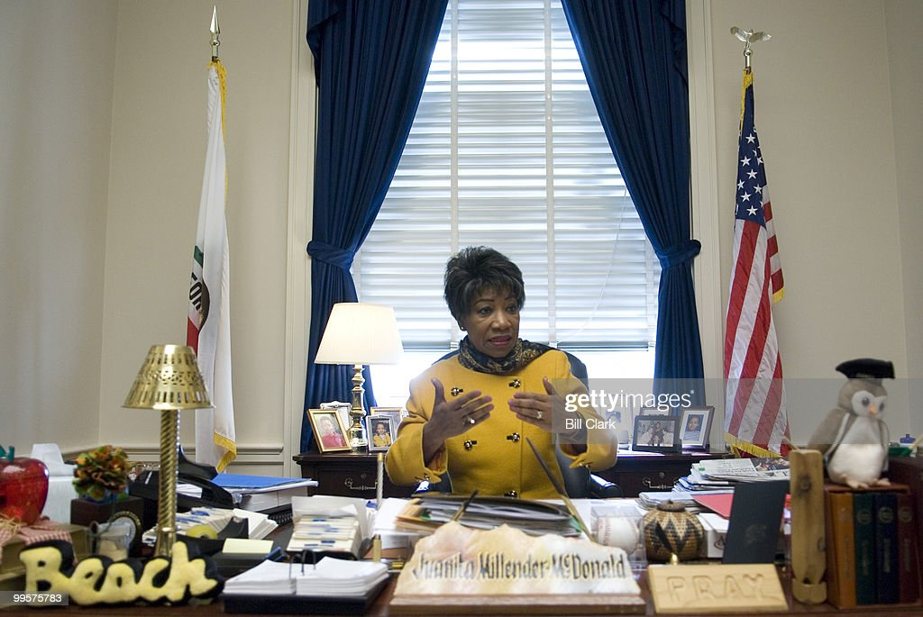 Rep. Juanita Millender-McDonald, D-Calif., the new chairwoman of the House Administration Committee, speaks to Roll Call in her Capitol hill office on Jan. 11, 2007.