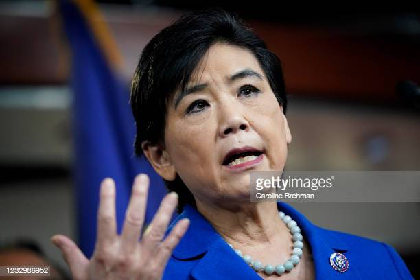May 18: Rep. Judy Chu, D-Calif., speaks during a news conference on the COVID-19 Hate Crimes Act in Washington on Tuesday, May 18, 2021.