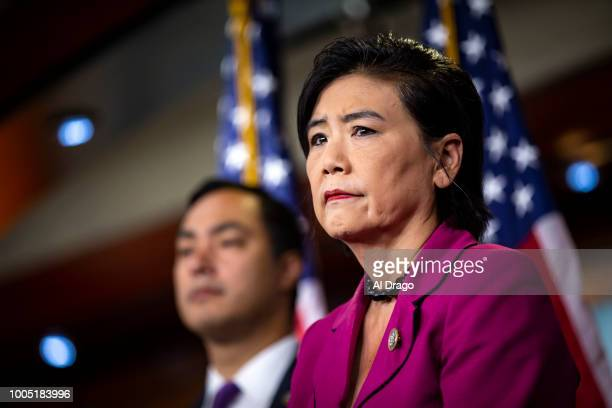 Rep Judy Chu listens beside Rep Joaquin Castro during a news conference with Democratic lawmakers on Capitol Hill on July 25 2018 in Washington DC...