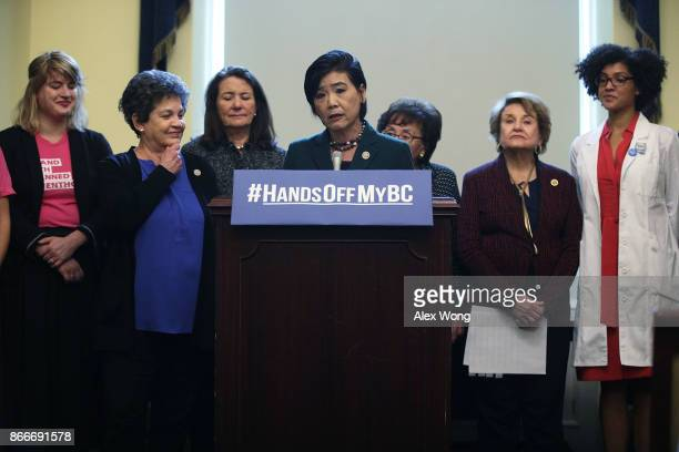 S Rep Judy Chu speaks as Rep Lois Frankel Rep Diana DeGette and Rep Louise Slaughter listen during a news conference October 26 2017 on Capitol Hill...