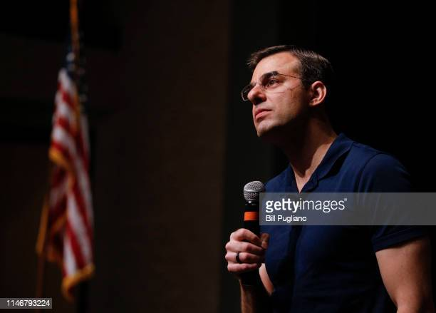 S Rep Justin Amash holds a Town Hall Meeting on May 28 2019 in Grand Rapids Michigan Amash was the first Republican member of Congress to say that...