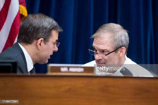 Rep. Justin Amash, R-Mich., left, and ranking member Rep. Jim Jordan, R-Ohio, are seen during a House Oversight and Reform Committee markup in...