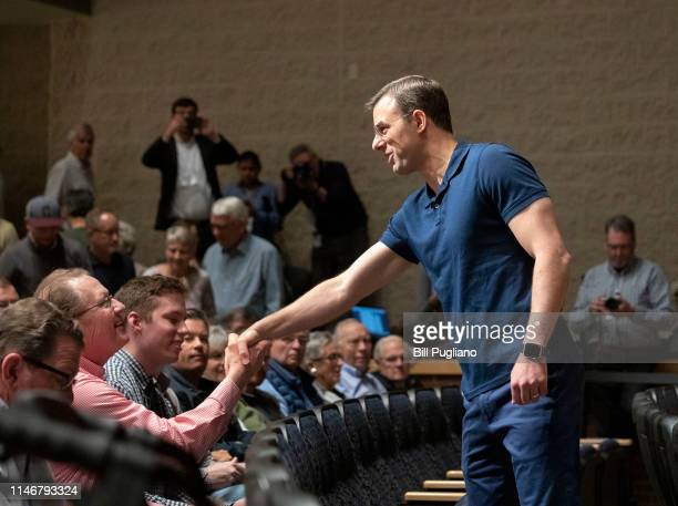 S Rep Justin Amash shakes hands with a supporter before he holds a Town Hall Meeting on May 28 2019 in Grand Rapids Michigan Amash was the first...