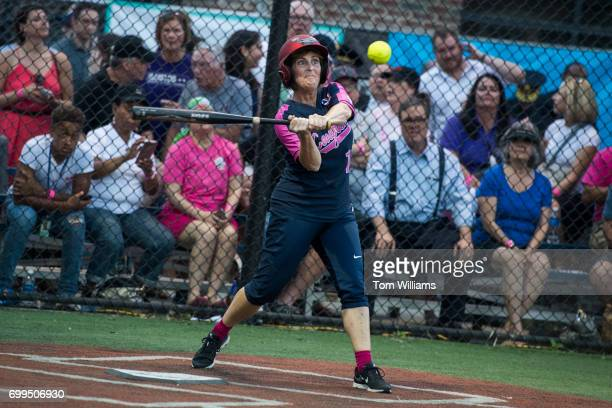 Rep Kathy Castor DFla bats in the Congressional Women's Softball game that pits Congresswomen against female journalists at Watkins Recreation Center...