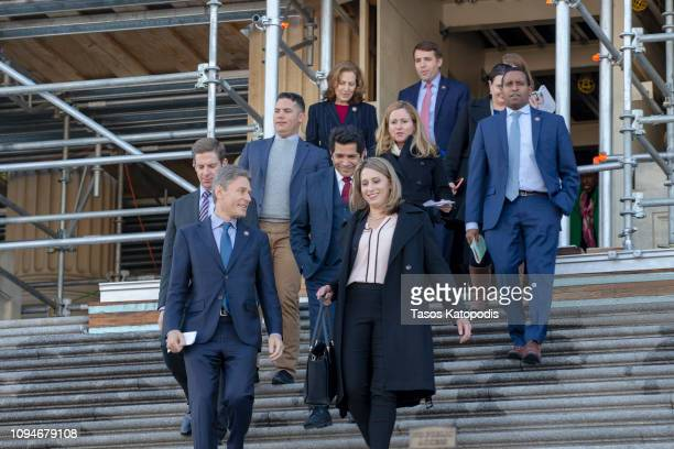 S Rep Katie Hill and colleagues exit the US Capitol on January 15 2019 in Washington DC Members of the Freshman Class gave press conference on the...