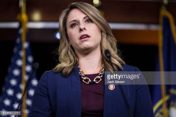 Rep Katie Hill speaks during a news conference on April 9 2019 in Washington DC House Democrats unveiled new letters to the Attorney General HHS...