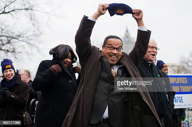 Rep Keith Ellison DMinn attends a rally with labor groups including the American Federation of Government Employees in Upper Senate Park to support...