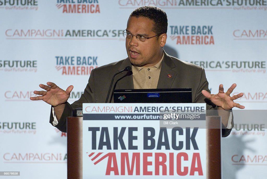 Rep. Keith Ellison, D-Minn., speaks during the plenary session of the 2007 Take Back America Conference, a 3-day gathering of progressive political groups organized by the Campaign for America's Future, at the Hilton Towers Hotel on Connecticut Ave., on Monday morning, June 18, 2007.
