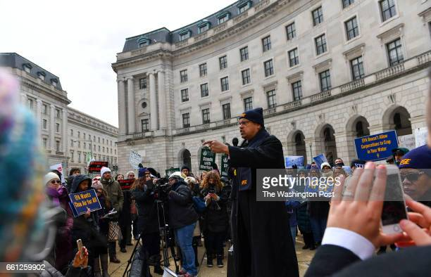 Rep Keith Ellison speaks to union members of American Federation of Government Employees and environmental groups during a rally outside the...
