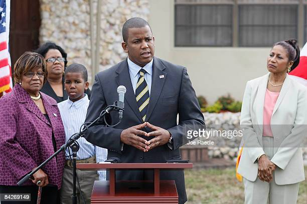 S Rep Kendrick B Meek speaks to the media as he announces his plans on running for Florida's open US Senate seat after Sen Mel Martinez decided that...