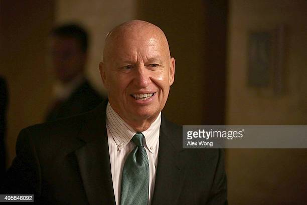 S Rep Kevin Brady arrives at a House Republican Conference meeting November 5 2015 at the Capitol in Washington DC House Republicans met to discuss...