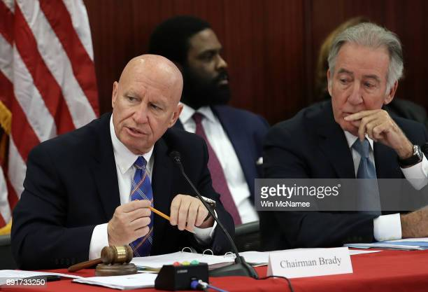 Rep Kevin Brady chairman of the House Ways and Means Committee delivers his opening statement as members of the US Senate and US House of...