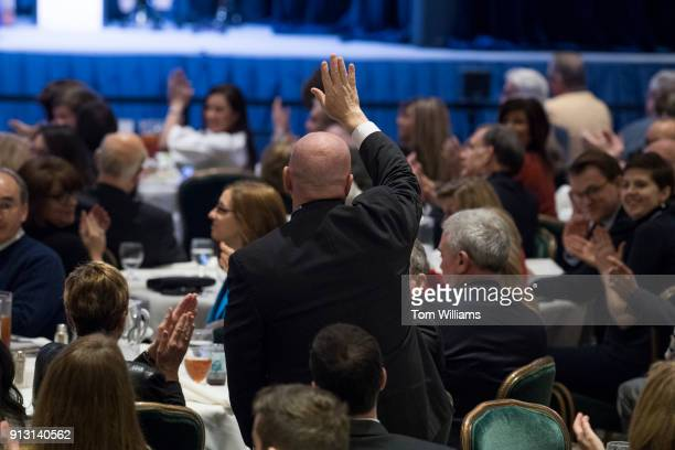 Rep Kevin Brady RTexas is recognized by President Donald Trump during a luncheon at the House and Senate Republican retreat at The Greenbrier resort...