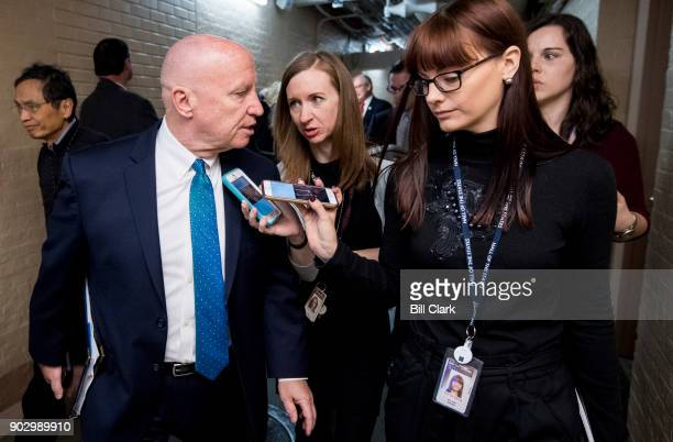 Rep Kevin Brady RTexas speaks with reporters as he leaves the House Republican Conference meeting in the Capitol on Tuesday Jan 9 2018