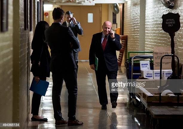 Rep Kevin Brady RTexas talks on his cell phone in the basement of the Capitol before heading into the House Republican Conference meeting on Monday...