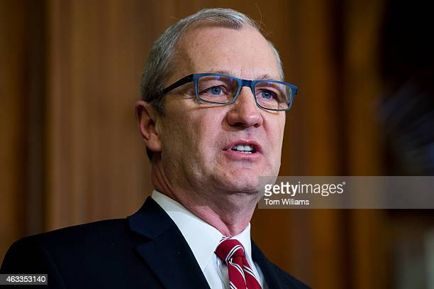Rep Kevin Cramer RND speaks during a bill signing ceremony for the Keystone XL Pipeline Approval Act in the Capitol's Rayburn Room February 13 2015