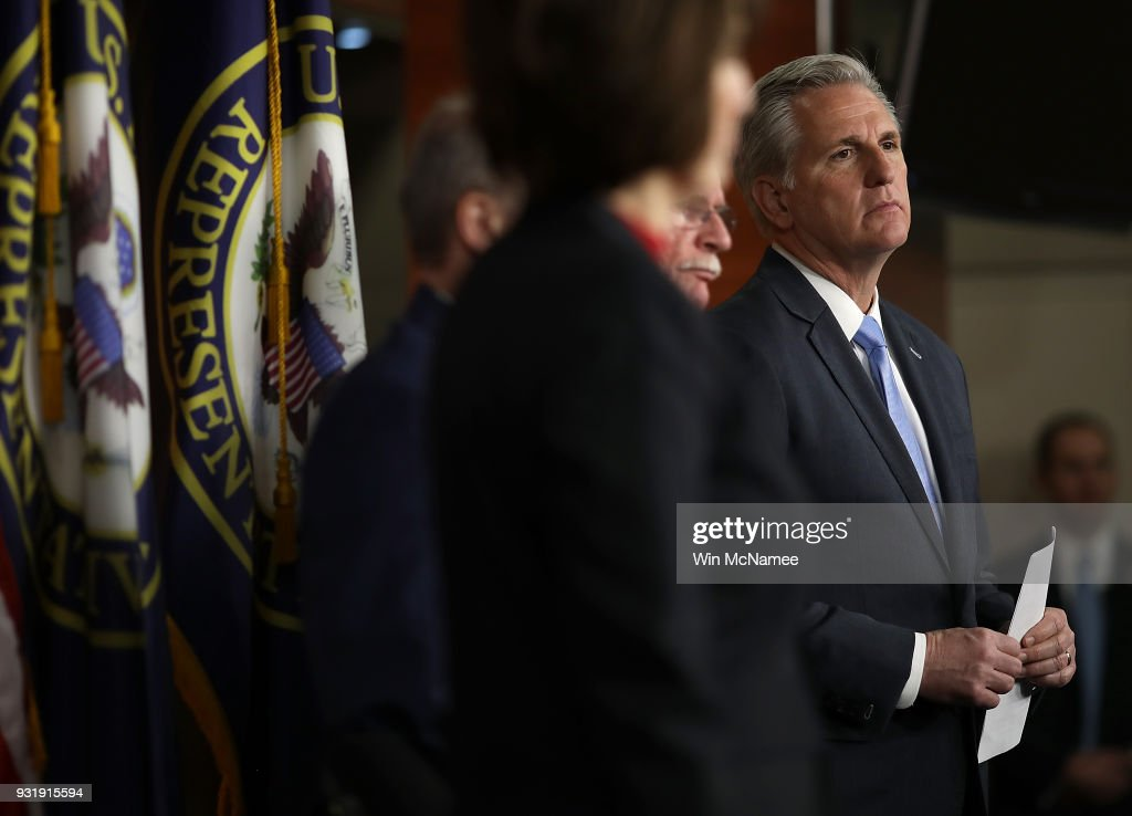 Rep. Kevin McCarthy (R-CA) attends a press conference at the U.S. Capitol on March 14, 2018 in Washington, DC. U.S. Speaker of the House Paul Ryan answered questions on congressional efforts to make schools safer, and on the recent special election in Pennsylvania.